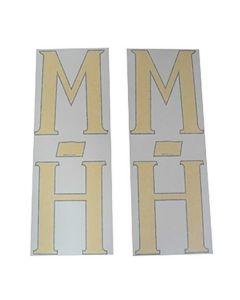 102616 | Massey Harris Decal Set | M-H Fender Decals | Yellow | Vinyl | Massey Harris Challenger Colt Mustang Pacemaker Pony 20 22 30 33 44 50 55 81 82 101 102 201 202 203 333 444 555 744 745 |