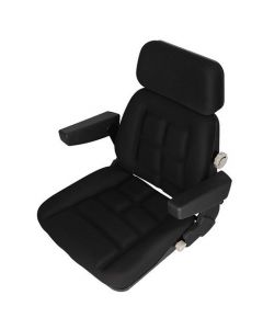 Seat Assembly Fabric Black fits Massey Ferguson fits Case IH fits Steiger fits McCormick fits Ford fits Allis Chalmers fits New Holland fits White