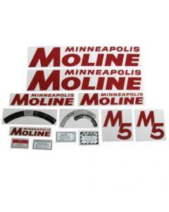 102789   Tractor Decal Set   Minneapolis Moline M5   Red   Mylar   Minneapolis Moline M5  
